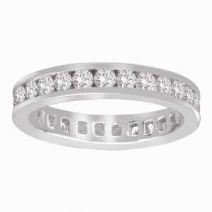 14k White Gold Channel Set Diamond Eternity Ring (1.00 cttw, H I Color