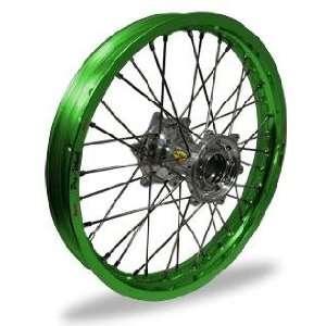 Pro Wheel Supermoto Rear Wheel Set   17x4.25   Green Rim/Silver Hub 27