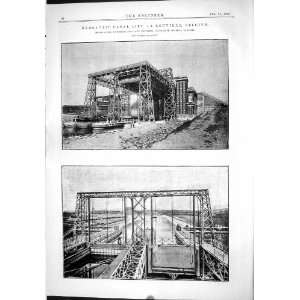 1889 Engineering Hydraulic Canal Lift La Louviere Belgium