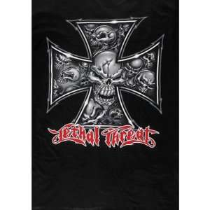 Lethal Threat Skull Iron Cross T Shirt X Large Black