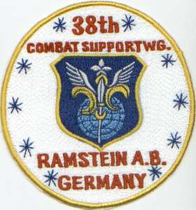 USAF PATCH, 38TH COMBAT SUPPORT WING, RAMSTEIN AIR BASE GERMANY
