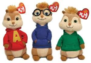 Beanie Babies 3 Pack Plush   Chipmunks Alvin, Simon, & Theodore by Ty