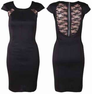 NEW LADIES BLACK LACE PANEL PONTE WOMENS BODYCON STRETCH ZIP FITTED