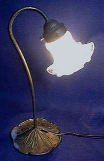 ART NOUVEAU LAMP GLASS SHADE LILY PAD BASE WORKING 120V