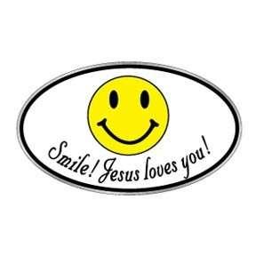 Christian bumper sticker decal Smile Jesus Loves You