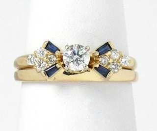 GORGEOUS VINTAGE 14K YELLOW GOLD, DIAMONDS & SAPPHIRES RING