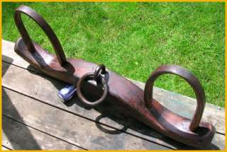 Antique Ox Yoke Hand Carved Wood Forged Wrought Iron