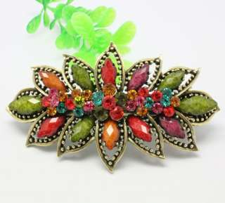New arrival colourful gemstone beads big hair barrette button clip