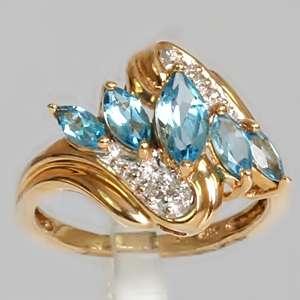 10K Yellow Gold .90 CTW Blue Topaz & Diamond Estate Ring