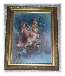 12 x 16 Framed Picture PRINT of Cherub ANGELS Chic n Shabby GOLD WOOD