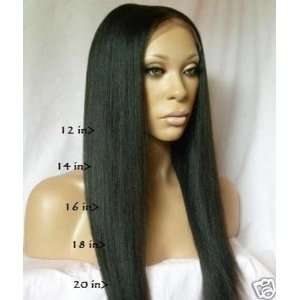 Synthetic Indian Remy Human Hair Lace Front 14in Yaki #1b