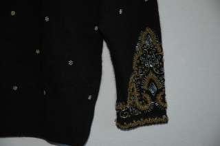 KAREN SCOTT EVENING Womens Long Sleeve Black Sweater Beads Embellished