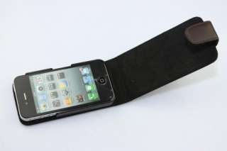 Brown Genuine Cowhide Leather Case/Cover for Apple iPhone 4 4S+Screen