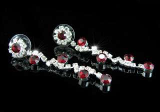 Bridal Dark Red Crystal Necklace Earrings Set S1135