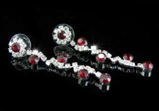 Bridal Dark Red Crystal Necklace Earrings Set S1135