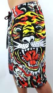 NEW ED HARDY CHRISTIAN AUDIGIER MENS GRAPHIC BOARD SHORTS TRUNKS