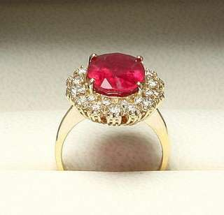 12500 RRP 14K YELLOW GOLD NATURAL 9.4CT RUBY & 1.00CT DIAMOND RING