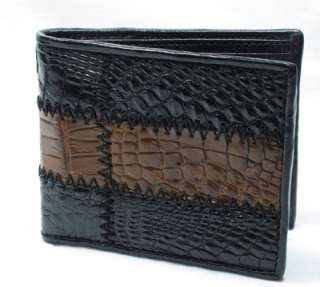 NEW 100% AUTHENTIC BLACK CROCODILE LEATHER MEN BIFOLD WALLET.