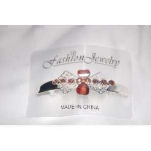 Brown 2 Hearts & Rhinestone Bow 3 Silver French Clip Barrette Beauty