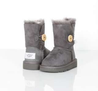 New UGG Australia Toddler Bailey Button Suede Boots Grey 6