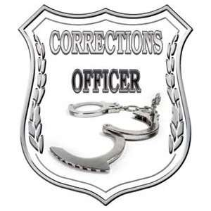 Corrections Officer Badge Decal Wtih Handcuffs   2 h