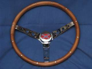 68 69 70 DODGE CHARGER GENERAL LEE WOOD STEERING WHEEL + HORN BUTTON