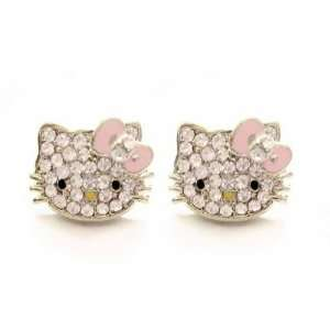 Cute Silver Plated Hello Kitty Crystal Cz Stud Celebrity Teen Earrings