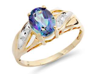37 ct Natural Mystic Topaz & Diamond Custom Ring 10k Yellow Gold