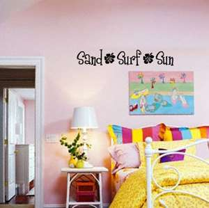 SAND SURF SUN w/ hibiscus flowers   Vinyl Wall Decal