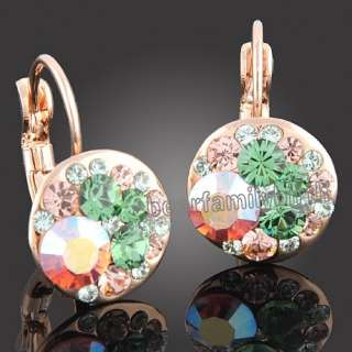 18k rose Gold Gp multi swarovski crystal earrings 641
