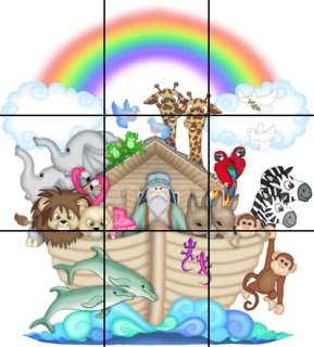 LOT SET OF NOAHS ARK MURAL NURSERY WALL STICKERS DECALS