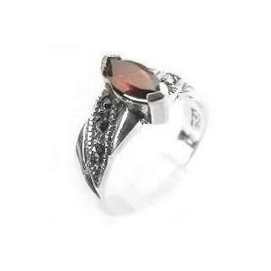 Sterling Silver Marcasite Marquise Garnet Ring Size 10(Sizes 5,6,7,8,9
