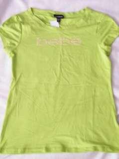 BEBE logo streach crystals t shirt lime GREEN 162555