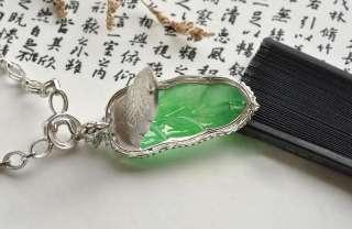 FINE Chinese Grade A Jadeite Jade Pendant,18kt. white Gold