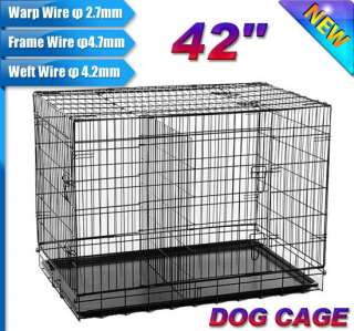 NEW 3 Doors 48 Large Folding Metal Dog Crate Cage Pet Kennel With