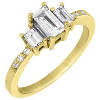5CT WOMENS 3 STONE PAST PRESENT FUTURE DIAMOND RING EMERALD CUT
