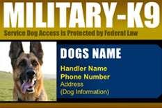 Custom Made ID Badge Card for Working Dog and Handler  Military K9 #3
