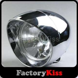 Universal Fit Shiny Round Chrome Motorcycle Motorbike Headlight