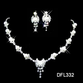 Wedding Bridal Pearl crystal necklace earring set 332