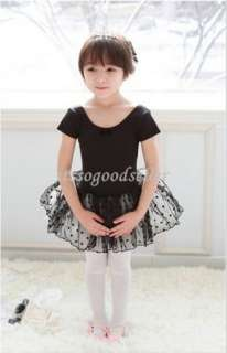 Girl Short Sleeve Leotard Ballet Tutu Costume Dance Skirt Dress 2 7Y