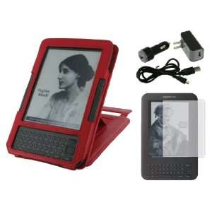 (Red) Leather Case Cover with 22 Angle Adjustable Stand/ USB Data