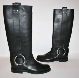 Authentic Casadei Womens Black Leather Rain Boots size UK 6 EU 39 US 8