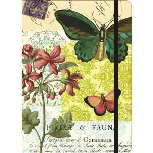 Flora and Fauna Butterfly Cavallini Notebook with Elastic