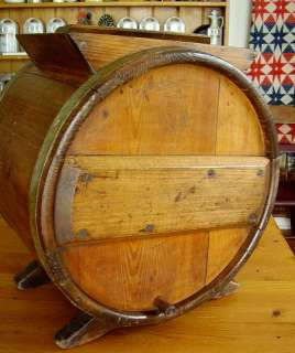Antique BUTTER CHURN c.1880 Wooden Staves Large Barrel Cylinder & Hand