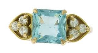 DIAMOND and BLUE TOPAZ 14K GOLD HEART RING ~ SCRAP PRICE