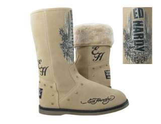 NEW WOMENS ED HARDY MONTANA WINTER BOOTS SHOES SUEDE FUR BROWN TAN 5