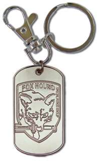 Metal Gear Solid Fox Hound Dog Tag Key Chain Anime MINT