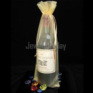 50 Gold Organza Party Gift Wine Bottle Bags 15X36cm
