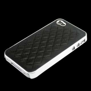 Black Leather Chrome Skin Hard Case Cover Bumper for AT&T iPhone 4S 4