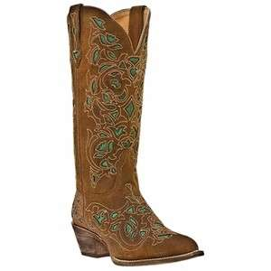 COWGIRL TURQUOISE BROWN GOAT LEATHER BOOTS 13 CUT OUT SHAFT NIB 52102